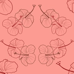 Seamless pattern of Hibiscus flowers. Vector.