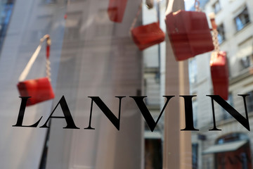 The logo of Lanvin, luxury clothing and accessories, is seen on a French fashion house Lanvin store window in Paris