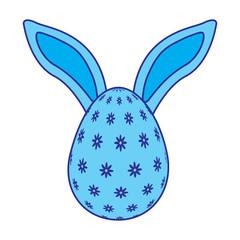 easter egg with rabbit ears decoration vector illustration blue image