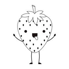 strawberries fresh fruit kawaii character vector illustration design
