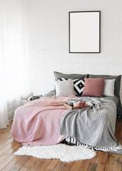 bedroom interior bed  Scandinavian free writing