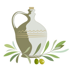 Olive oil label or logo for farm store or market. Clay jug with extra virgin olive oil and olive branch with leaves and olives. Retro emblem organic olive oil vector illustration isolated on white.