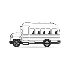 black outline school bus vector cartoon