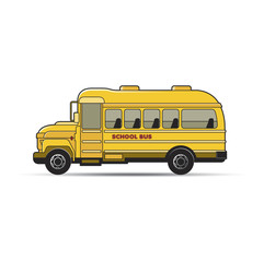yellow color school bus vector cartoon