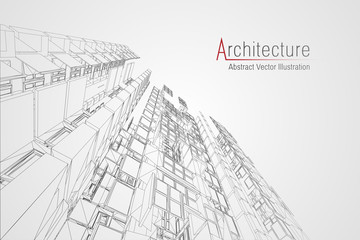 Modern architecture wireframe. Concept of urban wireframe. Wireframe building illustration of architecture CAD drawing. Wall mural