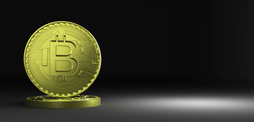 3D Rendering of coin Bitcoin