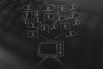 speech bubbles with light bulbs popping out of a television screen
