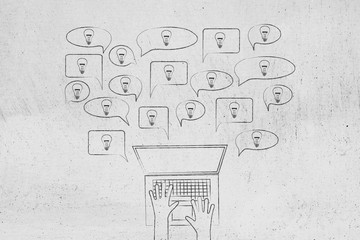 speech bubbles with light bulbs popping out of a laptop