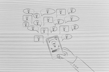 smartphone user with speech bubbles with light bulbs popping out of his device