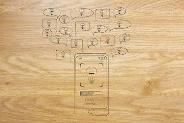 speech bubbles with light bulbs popping out of a smartphone