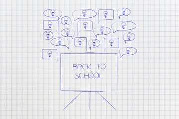 speech bubbles with light bulbs popping out of a Back to School blackboard