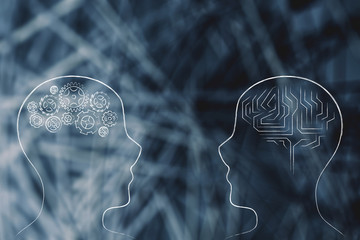 people facing each other with gearwheel and brain design