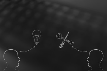 people facing each other with idea lightbulb and solution or settings wrench icon