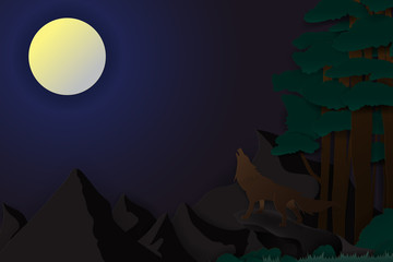 illustration of alone wild wolf howling at full moon night in forest, paper craft style