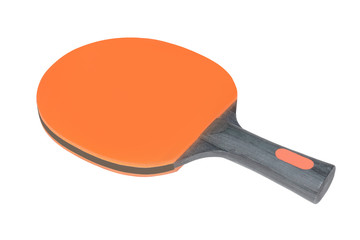 Orange ping-pong paddle with a black wooden handle isolated on white background