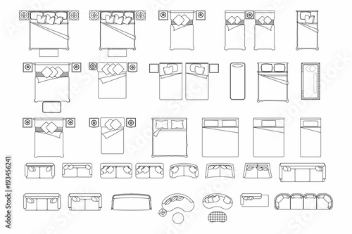 Top View Of Set Furniture Elements Outline Symbol For Bedroom And