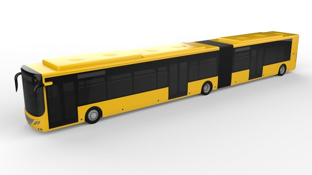 A large city bus with an additional elongated part for large passenger capacity during rush hour or transportation of people in densely populated areas. Model template.