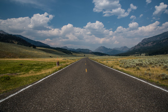 Long empty road in Wyoming