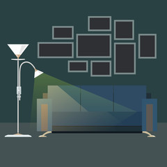 Dark Interior Living Room , Sofa with Floor Lamp, Photo Frames on the Wall, Vector Illustration