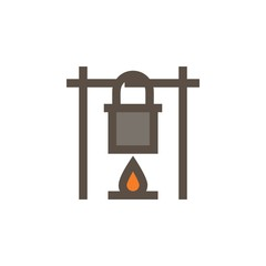 Camping & adventure icons - outdoor cooking