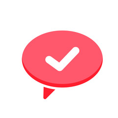 Chat check dialogue mark message speech yes icon
