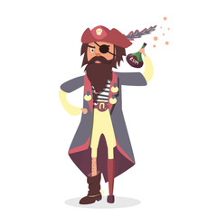 Funny cartoon character. Pirate with Rum bottle.