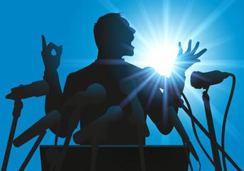 discours - micro - leadership - tribun - politicien - politique - meeting - conférence - élection
