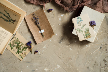 Flay lay, top view of the herbarium, dried lavender flowers, notebook, book for notes, pen and spring summer pictures on a concrete backgroundPostcard on kraft paper