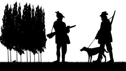 chasseurs et leur chien ombres chinoises