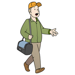 Walking man with a bag   is talking.   Grimace on him face is disappointed.