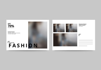 Fashion Postcard Layout with Photo Elements