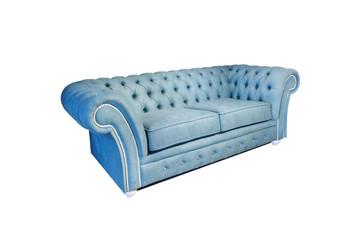 Fototapeta light blue fabric sofa in chester style for elite loft interior isolated white background obraz