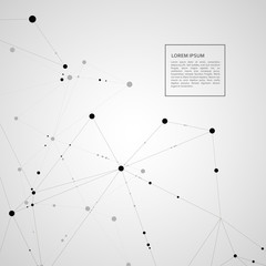 Polygonal pattern of connected black lines and dots on white background