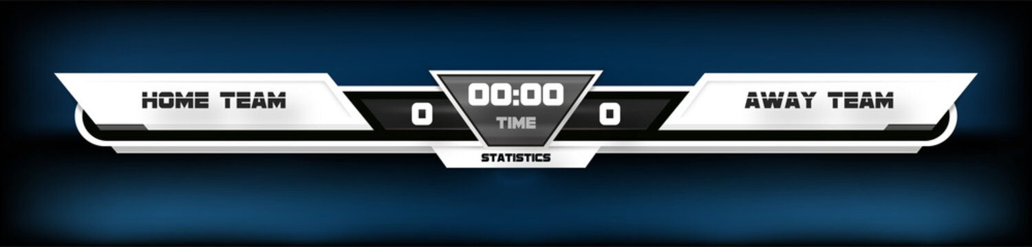 soccer football with scoreboard graphic and spotlight vector illustration