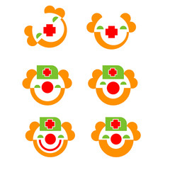 Symbol of charity red nose day. Icon of Funny cute round smiling clown face.