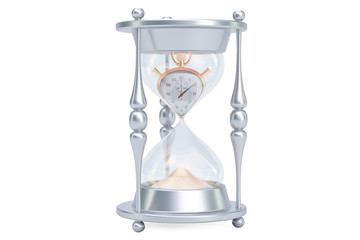 Hourglass, lost time concept. 3D rendering