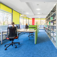 Library with computer workstation