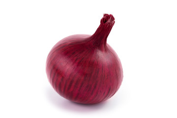 head of a red sliced onion on a white background