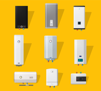 Boiler icons set in flat style. Modern and classic, slim and designer boilers.