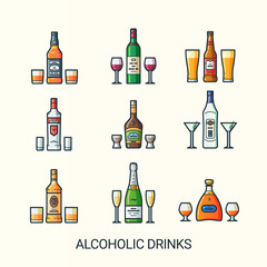Flat line alcoholic drinks icons