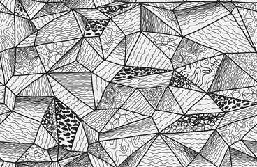 Zentangle polygonal seamless hand-drawn background. Seamless pattern included.