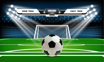 Football or soccer playing field with set of infographic elements and ball. Sport Game. Football stadium spotlight and scoreboard background with glitter light vector illustration