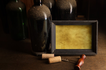 Still-life with old dust wine bottles