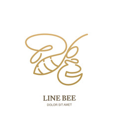 Vector line logo icon or emblem with golden honeybee and honey pot. Abstract modern design template. Outline bee illustration. Concept for honey package design.