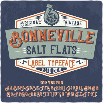"Original label typeface named ""Linked"". Good handcrafted font for any label design."