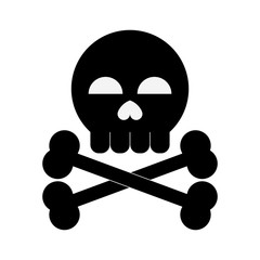 Skull with bones danger symbol icon vector illustration graphic design