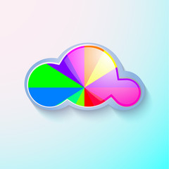 Cloud icon - vector illustration, isolated on blue background.