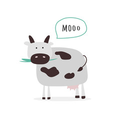 Simple vector illustration with cow.
