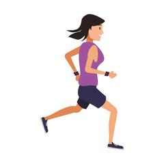Fitness woman running vector illustration graphic design