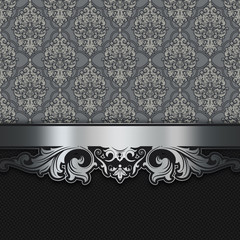 Wall Mural - Decorative background with vintage patterns and silver border.